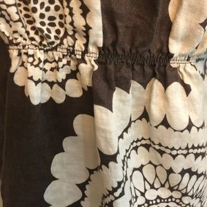 Boden Dresses - Boden Size 8 Linen Brown and White Geometric Dress